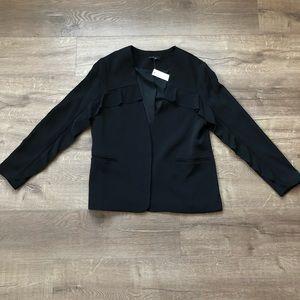 Anthropologie DREW Black Ruffle Sleeve Blazer L
